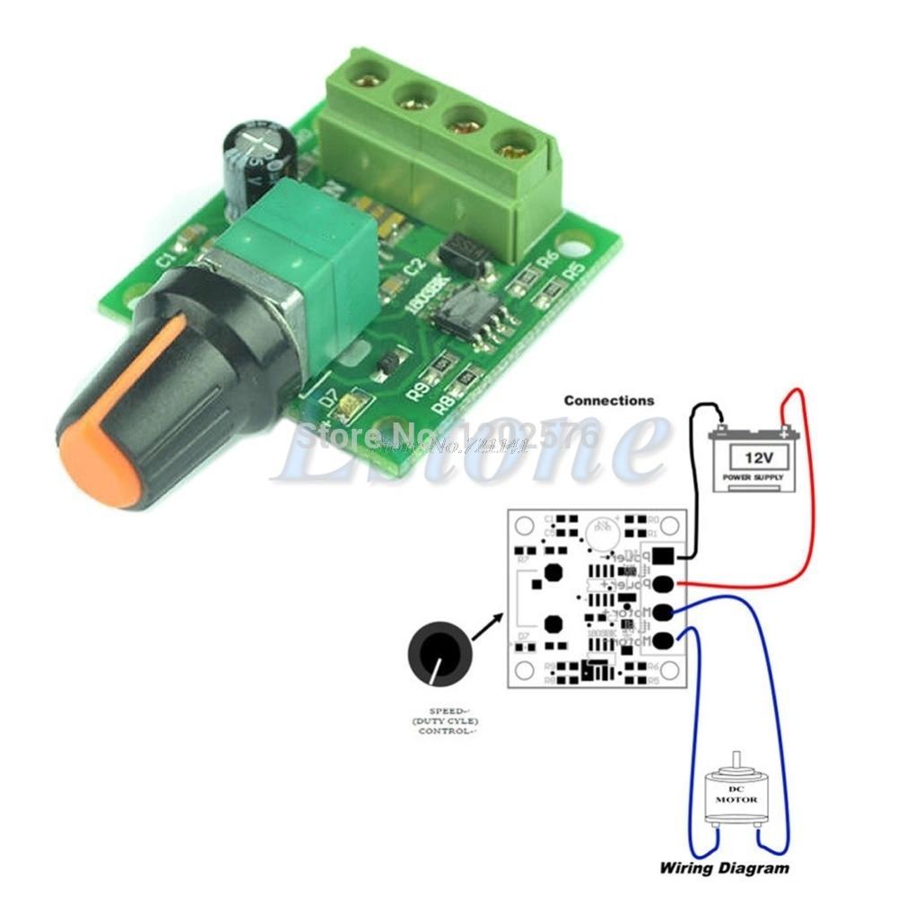 DC New 1.8V 3V 5V 6V 12V 2A Low Voltage Motor Speed Controller PWM 1803B Dropship