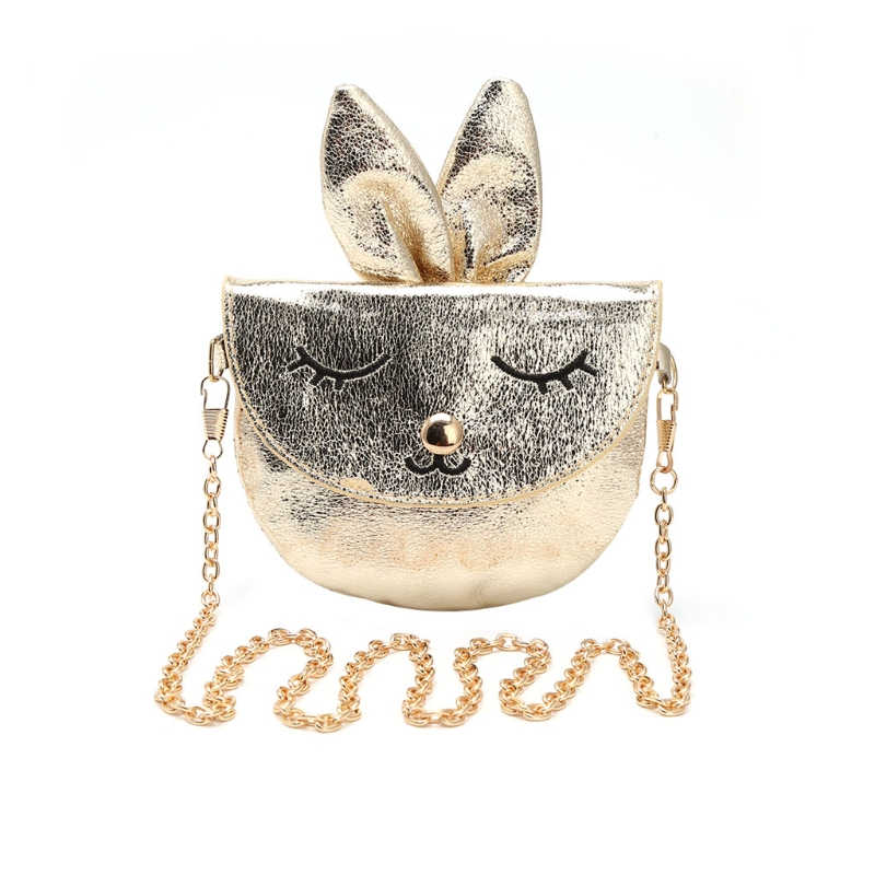 New Kids Girls Rabbit Shoulder Bags Children Handbag Baby Metal Chain Faux Leather Messenger Bags Animal Printing Bags