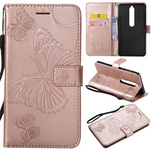 Butterfly PU Leather Flip Wallet Case For Nokia 6 2018 Cover Case For Nokia lumia N635 N640 3 5 9 Pure View Mobile Phone Coque protective pu leather flip open case w strap for nokia lumia 1020 deep pink