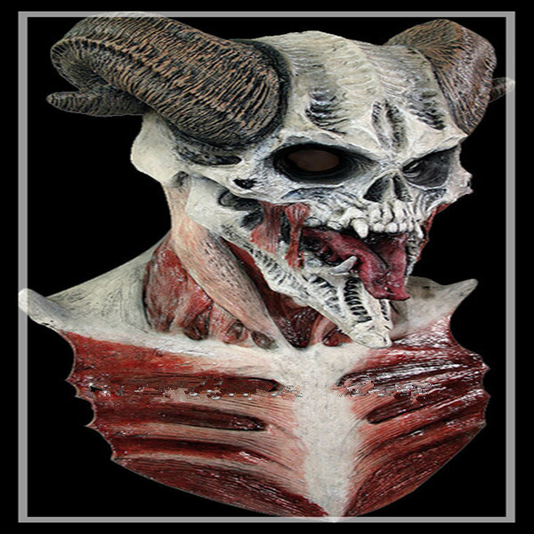 2016 nova festa de Halloween Cosplay Latex cabeça completa máscara Horror realista demônio Costume da máscara do crânio fantasma assustador máscara para Cosplay