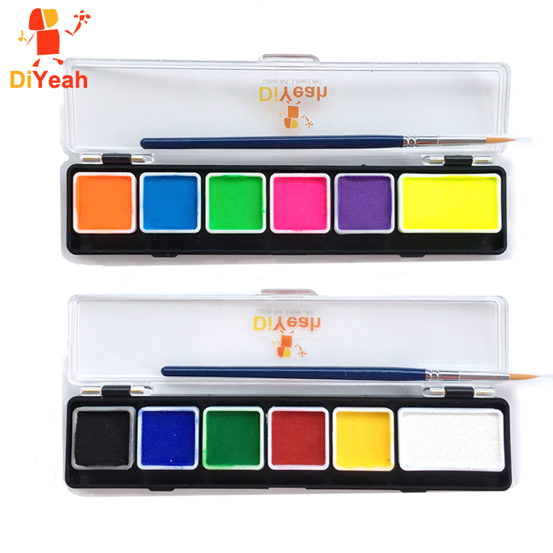 Body Paint 6 Colors Palettes Hvid Sort Rød Pensel Model Paint Makeup Pigment Jul Vandbaseret Fluorescerende UV Ansigtsmaling