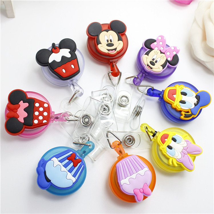 Cute Mickey Minnie Retractable Badge Reel High Quality Silicone Cartoon Student Nurse ID Name Card Badge Holder Office Supplies