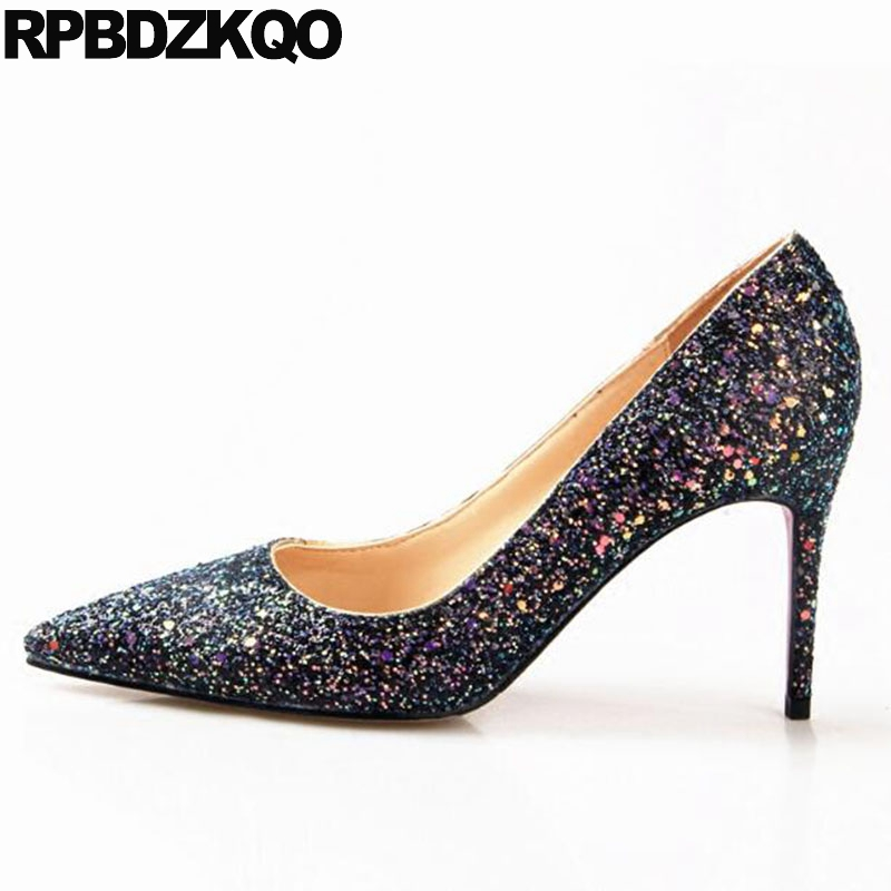 Glitter Sequin Pumps Colourful Bling Pink Wedding Shoes Bridal Pointed Toe  High Heels Size 4 34 3 Inch Runway Ladies Stiletto 6d40f2b449f6