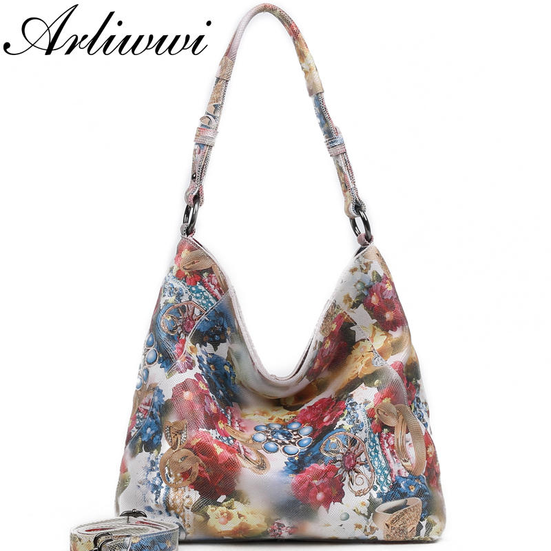 Arliwwi Brand Designer Female Large Real Leather Bags Flower Embossed Hobos Women Genuine Leather Tote Big
