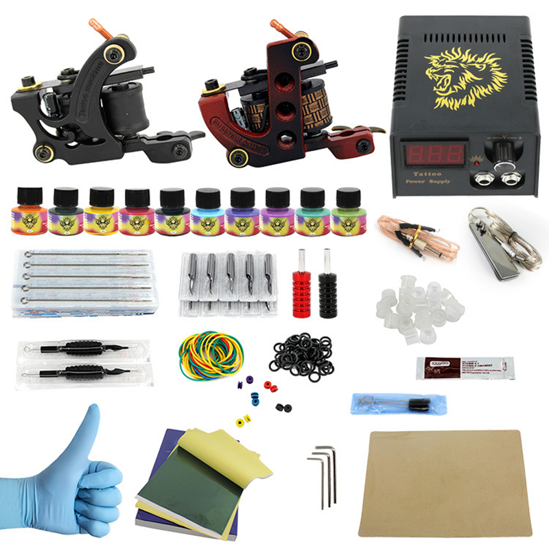 Complete profession Tattoo kits 10 wrap coils 2 guns machine 10 tattoo ink sets power supply disposable needle clip cord disposable tattoo tube with needle combo mixed 40 piece
