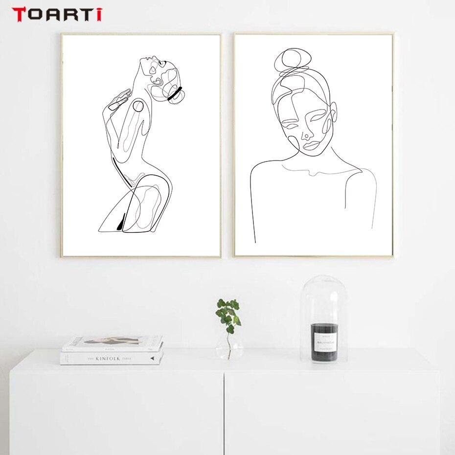 Modern Soyut Kadın Vücut Boyama Duvar Sanat Minimalist Hattı çizim