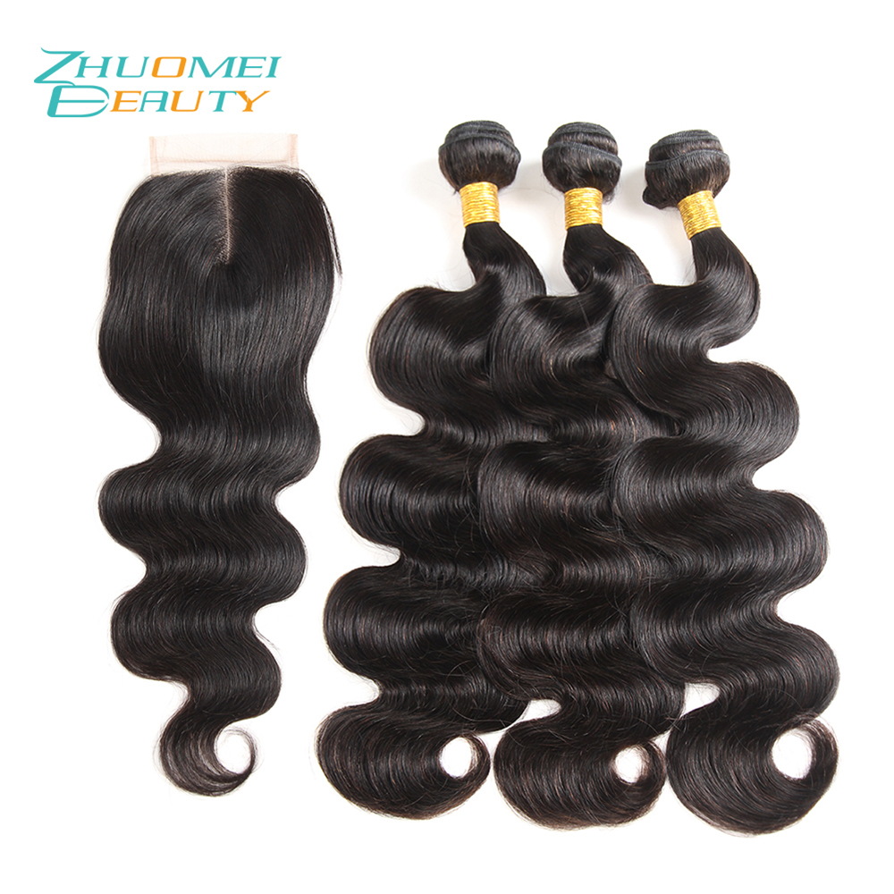 Zhuomei BEAUTY Body Wave Brazilian Remy Hair Weave 3 Bundles With Closure Natural Color 8-28inch Human Hair Bundles With Closure ...