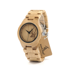 BOBO BIRD E04 Full Bamboo Wooden Watch for women Deer Designer Brand Quartz Wrist Watches in Gift Box