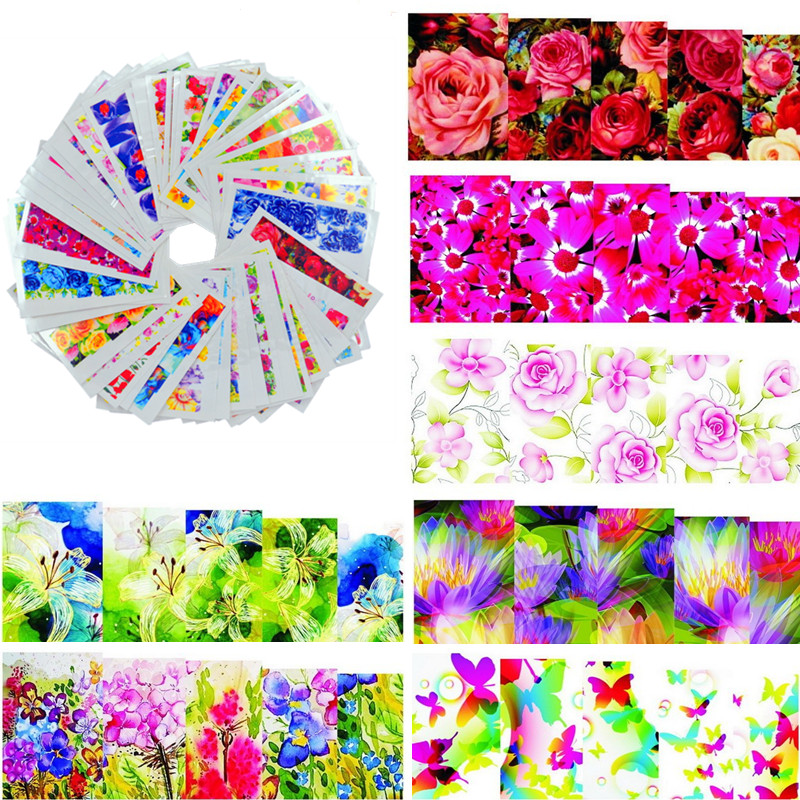 50sheets Color Flowers  Hot Designs Watermark Nail Stickers Temporary Tattoos DIY Tips Nail Art Decals Manicure Beauty Tools noble forest bracelet pattern temporary tattoos stickers