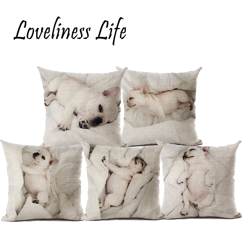 Top Fashion Bull Terrier Cushion Covers Dog Pug 45X45cm Soft Pillow Cases For Chriatmas Home Decorative Cojines Almofadas