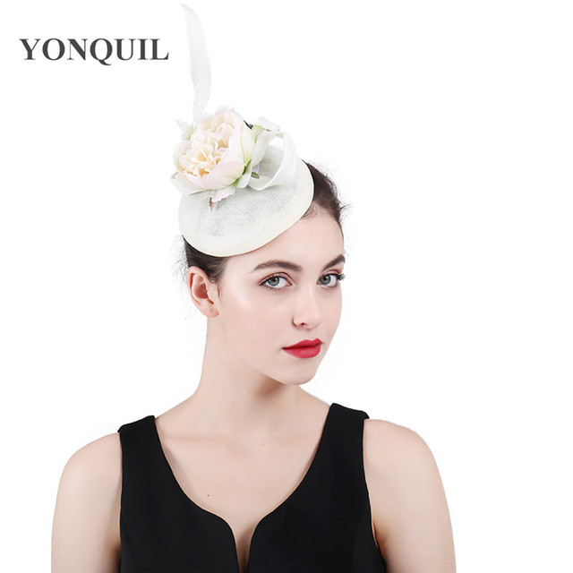 6eb6a230a3b78 Imitation linen wedding beige hair accessories kentucky derby fascinator  headwear cocktail hat with feather 2018 New