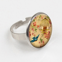 GDRGYB 2019 Free To Fly ring Leaving Home Gift, Graduation Gift Flying Free ring Vintage Birdcage Christmas Gift Glass ring стоимость