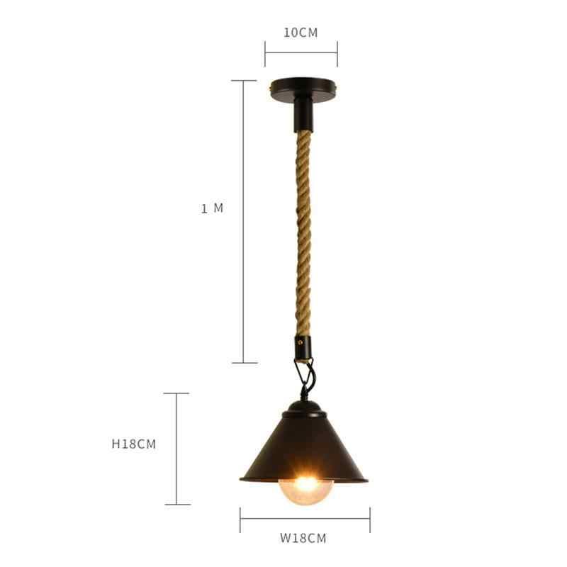 단 철 대마 로프 미국 국가 산업 펜 던 트 빛 110-220 v e27 레트로 램프 홈 욕실에 대 한