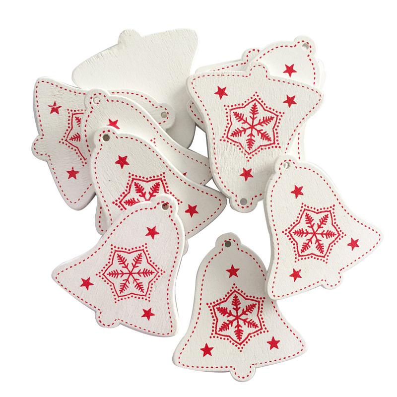 New Year 2020 Christmas Snowflake Wooden Pendant Xmas Tree Decorations for Home Wood Hanging Crafts Navidad 2019 Noel Natal Deco 23