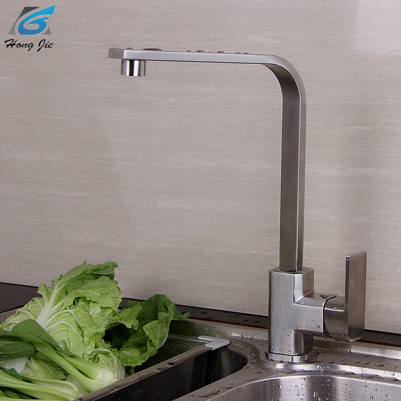 360 Degree Kitchen Faucet Single Hole Mixer Water Tap Hot And Cold 304 Stainless Steel Basin Tap Faucet Kitchen Accessories wall of the cold and hot water tap copper concealed washbasin single hole basin faucet stainless steel waterfall faucet lt 304 4