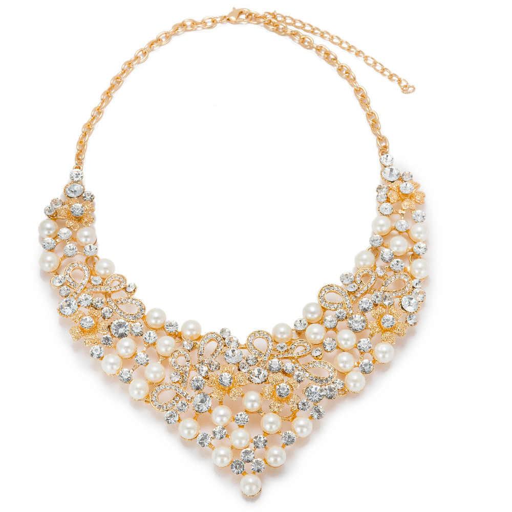 MUKUN kryształ symulowane Pearl klasyczny zestaw biżuterii w stylu Vintage afryki koraliki biżuteria zestawy dla kobiet imitacja ślubne akcesoria