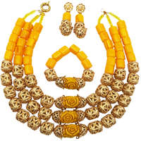Fashion Yellow Artificial Coral Necklace Nigerian Wedding African Beads Jewelry Set Indian Bridal Jewelry Sets FSH 003