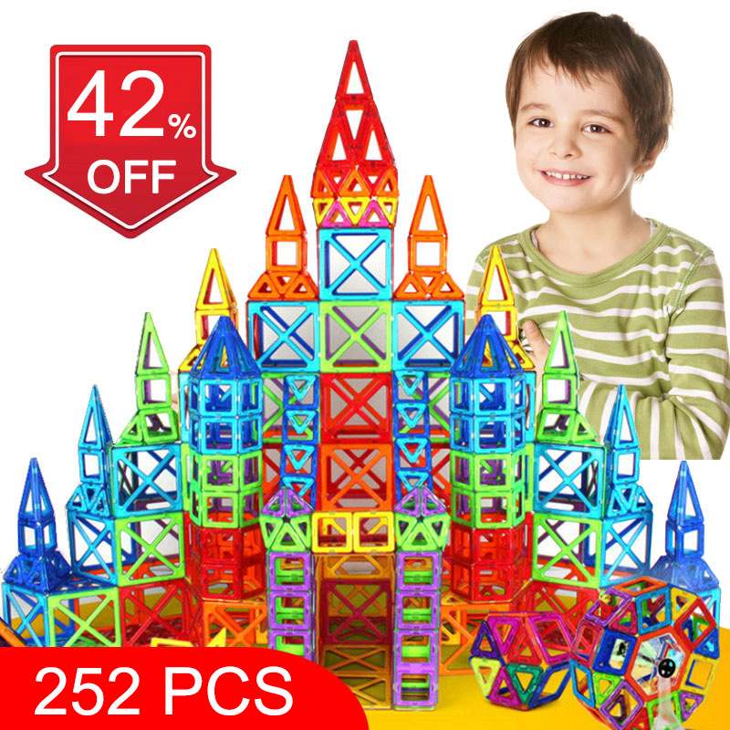 BD 252pcs Magnetic Blocks Mini Magnetic Designer Construction 3D Model Magnetic Blocks Educational Toys For Children Kid Gift magplayer 3d magnetic blocks assemblage 65pcs magnetic blocks magnetic model diy building blocks educational toys for children