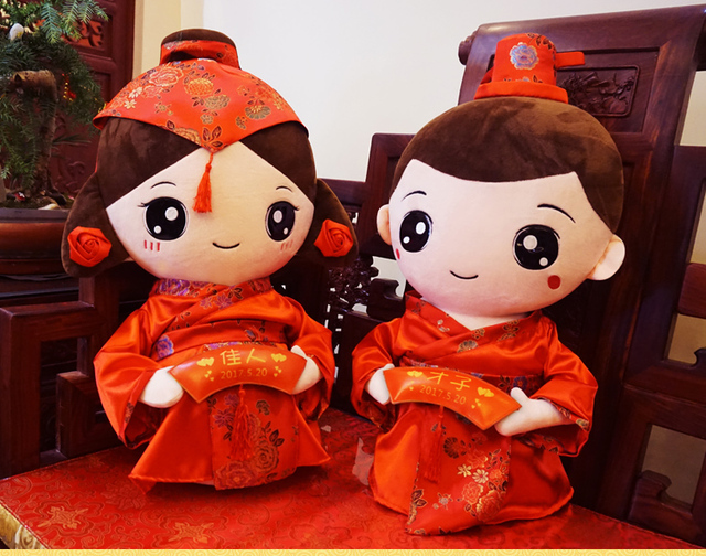 2pcs Marriage Gift China Red Wedding Lucky Doll Bride And Groom