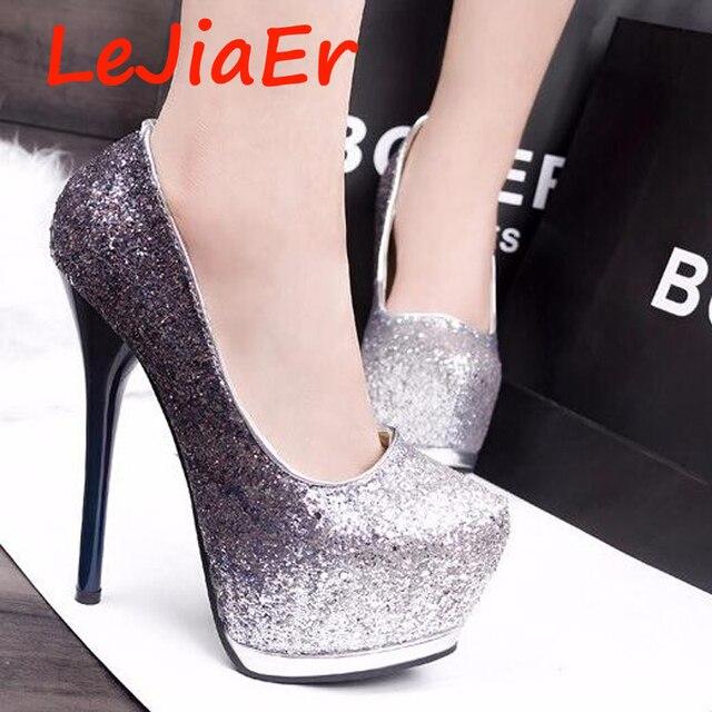 new arrival d430f ca27f US $47.9  Sexy high heels kleid schuhe frauen designer schuhe plattform  heels glitter abend schuhe roten pumps frauen schuhe high heel D687 1 in  Sexy ...