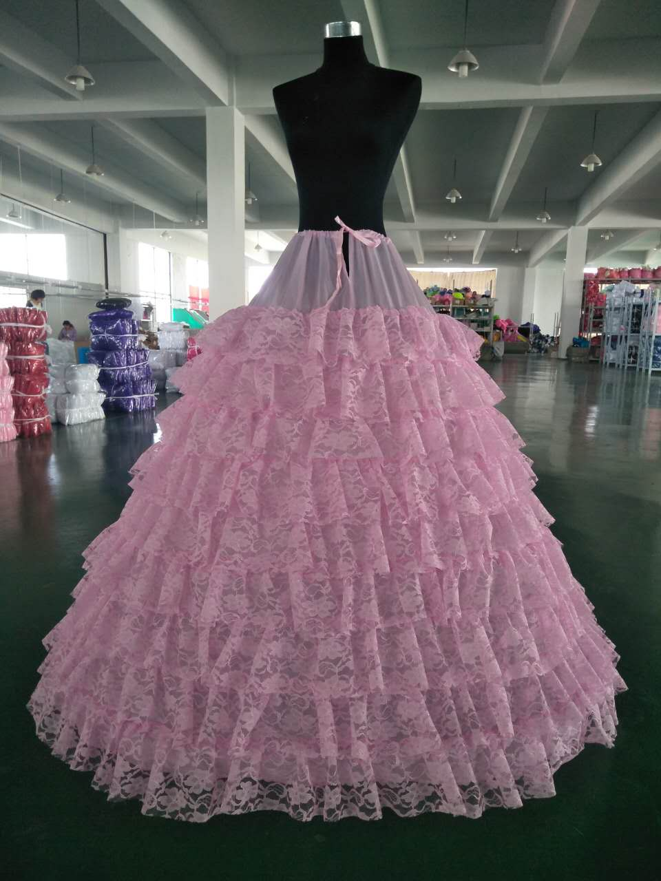 6 Hoops 9 Layers Of Lace Wedding Petticoat Long Big Tulle Skirts Womens Underskirt For Wedding Dress In Stock