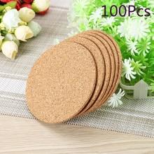 Νέο JosheLive 100pcs / παρτίδα Φυσικό στρογγυλό ξύλο καφέ φλιτζάνι καφέ Ματ ανθεκτικό στη θερμότητα Φελλός Coaster Mat Mat τσάι ποτό Pad επιτραπέζια διακόσμηση χονδρικής