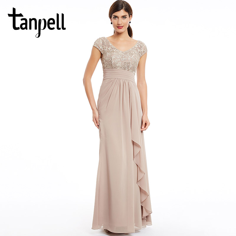 Tanpell Cap Sleeves Evening Dress Champagne Floor Length