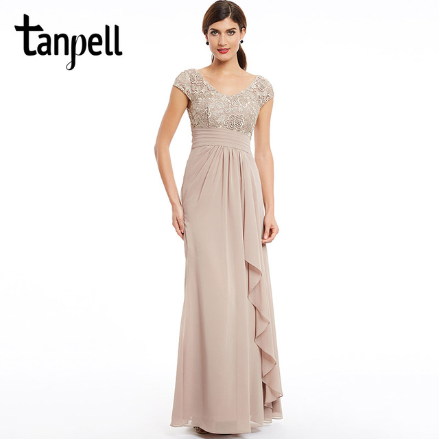 Tanpell cap sleeves evening dress champagne floor length ruched ...