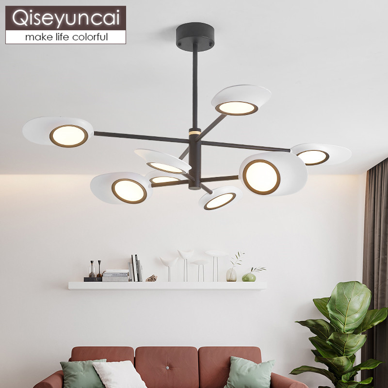 Qiseyuncai Nordic iron living room chandelier postmodern minimalist restaurant creative personality bedroom hall lighting