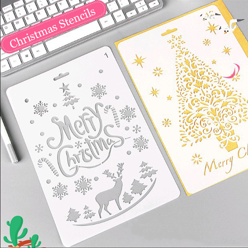 1pc Christmas Stencils For DIY Cards Journal/Notebook/Diary/Stamps For Scrapbooking  Hollow PP Plastic School Stationery