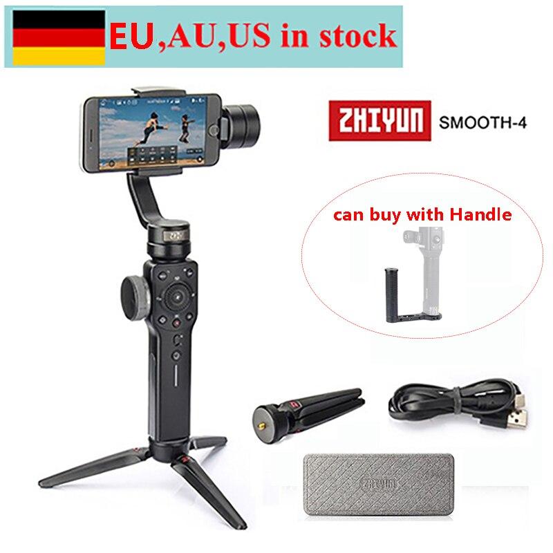 (Pode enviar da ue, au, eua) zhiyun liso 4 3 eixos handheld cardan estabilizador para iphone x 8 7 plus samsung s8 + s8 s7 s6 s5, punho