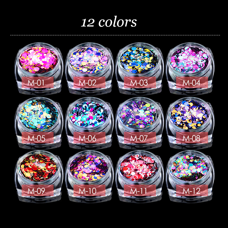 Nail-Art-Decorations Charm Sequins 3d Nail Mixed Colorful Ultrathin Fashion DIY Round