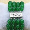 Fashion Malaysia natural green jade stone jasper 8mm round beads 4 rows strand bracelets for women gifts jewelry 7.5inch B3172