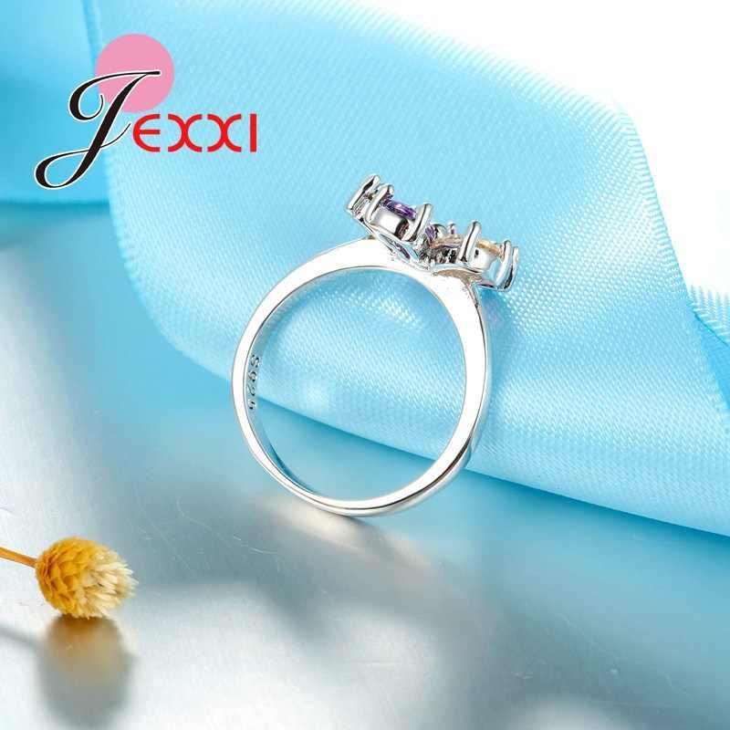 Top Qualität Schmuck Set Glänzende Bunte Cubic Zirkon Kristall Blume Halskette Ohrringe Ringe 925 Sterling Silber Braut Sets