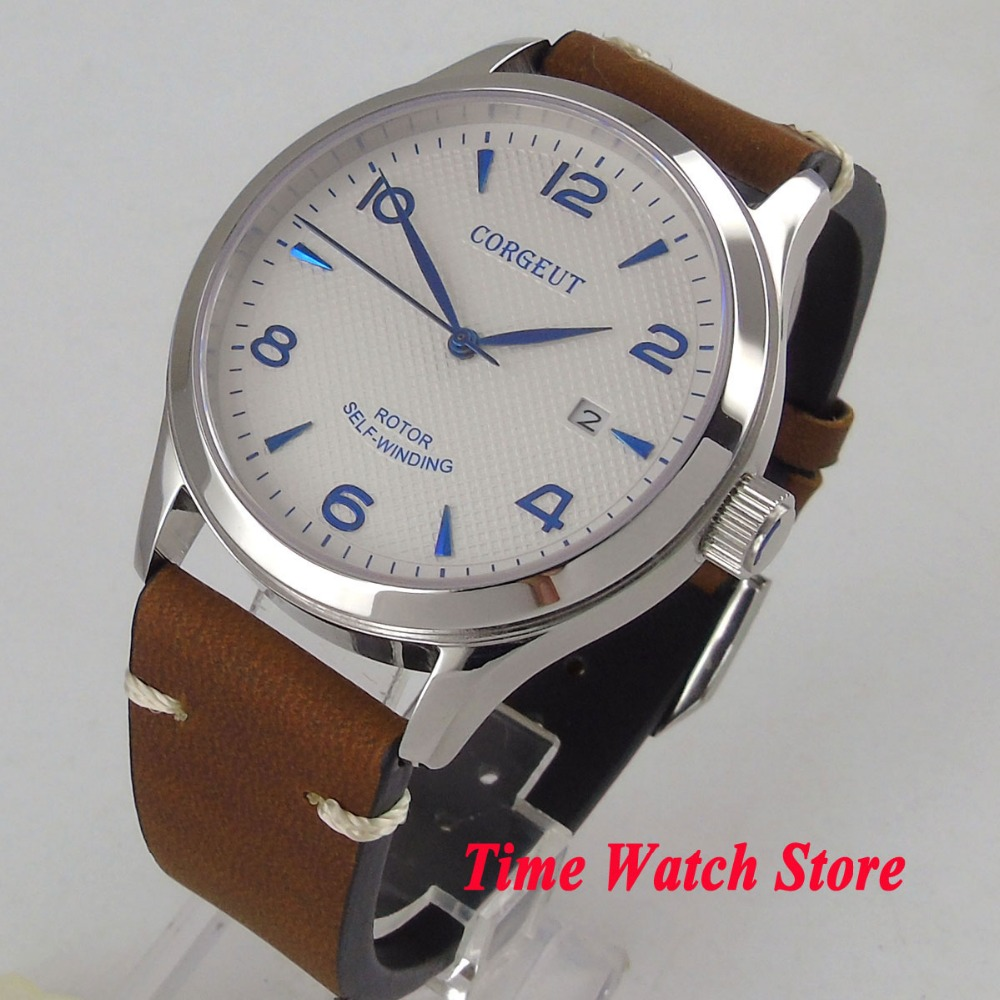 Solid 42mm CORGEUT men's watch white dial date luminous sapphire glass 21 jewels MIYOTA 821A Automatic watch men 101