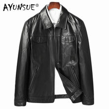 AYUNSUE Men Goatskin Coat Autumn Genuine Leather Jacket Natural Leather Blazer Jackets Chaqueta Cuero Hombre 81Y8107 YY255(China)