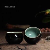 2PCS Chinese Longquan Celadon Porcelain China teacup SaucerTea Bowl teapot Black Glaze 85ml Chinese tea cup Pot Celadon Teacups