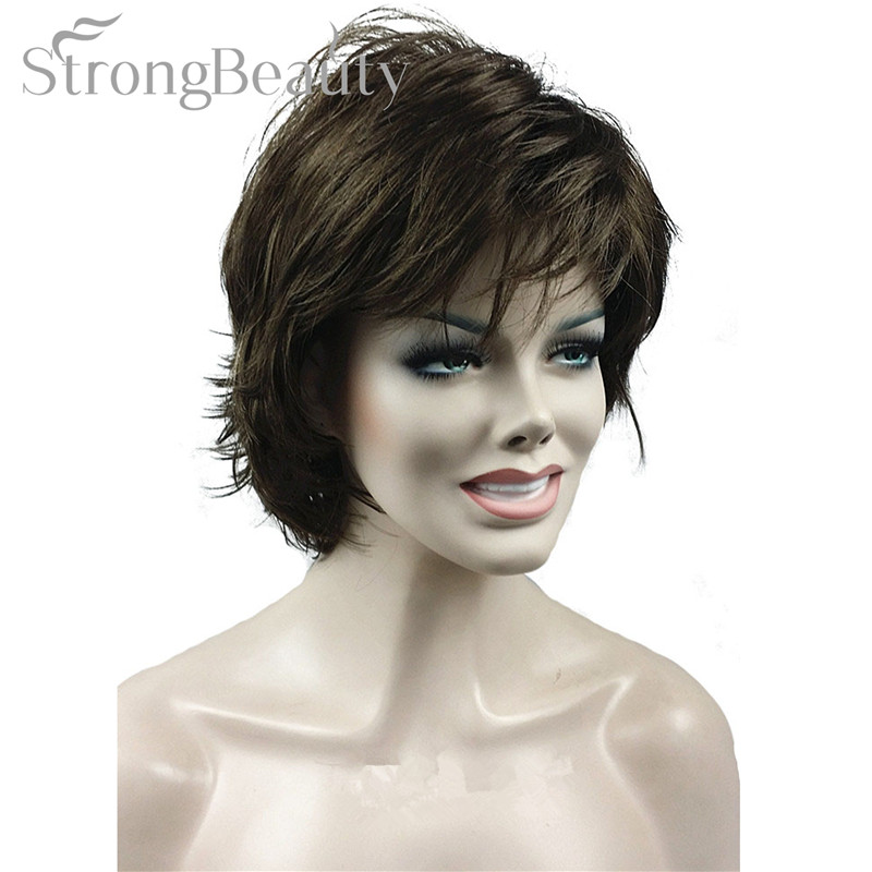 fuerte belleza falso sinttico pelucas brown negro rubio corto ondulado mullido corte en capas pelucas con
