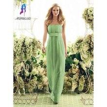 New Style Apple Green Bridesmaid Dresses Long Strapless Chiffon Pleats Floor Length Women Maxi Dress For Weddings