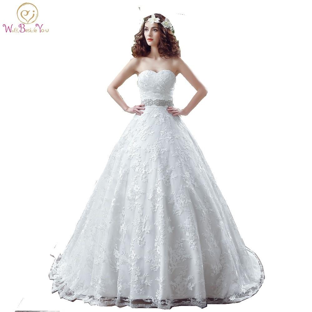 100 Real Photo Modest Wedding Dresses Lace Ball Gown Chapel Train 2019 Beaded Sash vestidos de