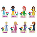 8pcs Fairy Tale Princess Girl Friends Model Building Doll Bricks Blocks Kid Toy Gifts Compatible Lepin
