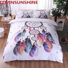 Juego de cama blanco atrapasueños, edredón con plumas de colores, ropa de cama king, dibujo bohemio