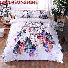 Parure de lit blanche attrape rêve, style bohème, avec plumes, king size, housse de couette