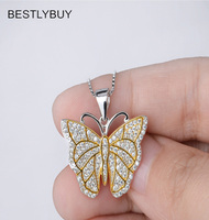 BESTLYBUY Genuine 925 Sterling Silver Butterfly Pendants Necklaces Female Necklace Choker Jewelry Gift for Women FREE SHIPPING