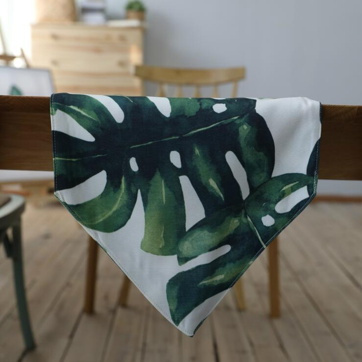 Fyjafon Table Runner Green Printed Table Runners Polyester/Cotton Runner Table Runner 30*180cm/30*200cm/30*220cm