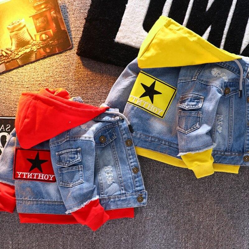 jaqueta jeans meninas criancas 2019 outono meninos hoodies casaco denim manga longa outerwear criancas blusao para