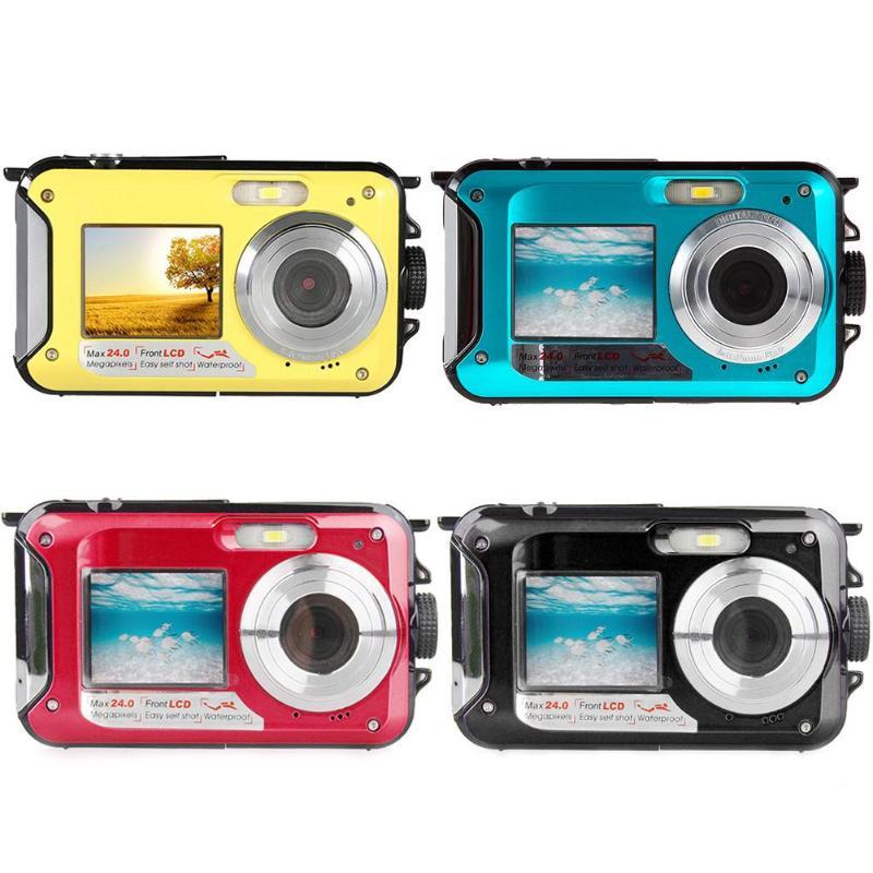 Pro jeu étanche 24MP Double écran sous-marin enfants caméra Mini caméra numérique affichage LCD caméra sous-marine étanche à la poussière