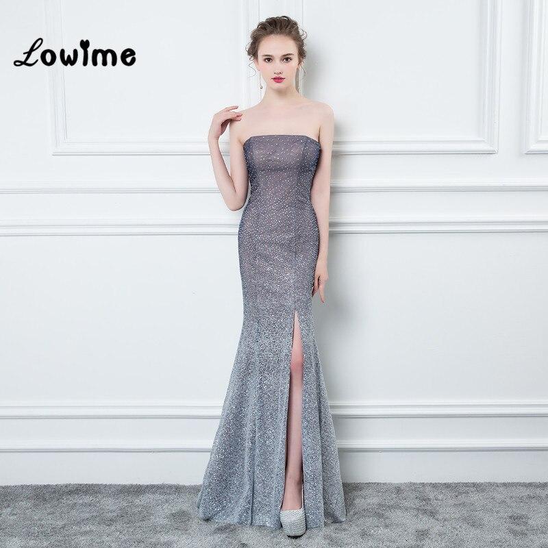 Navy Blue Mermaid Dress Strapless Off-The-Shoulder Prom Dress ...