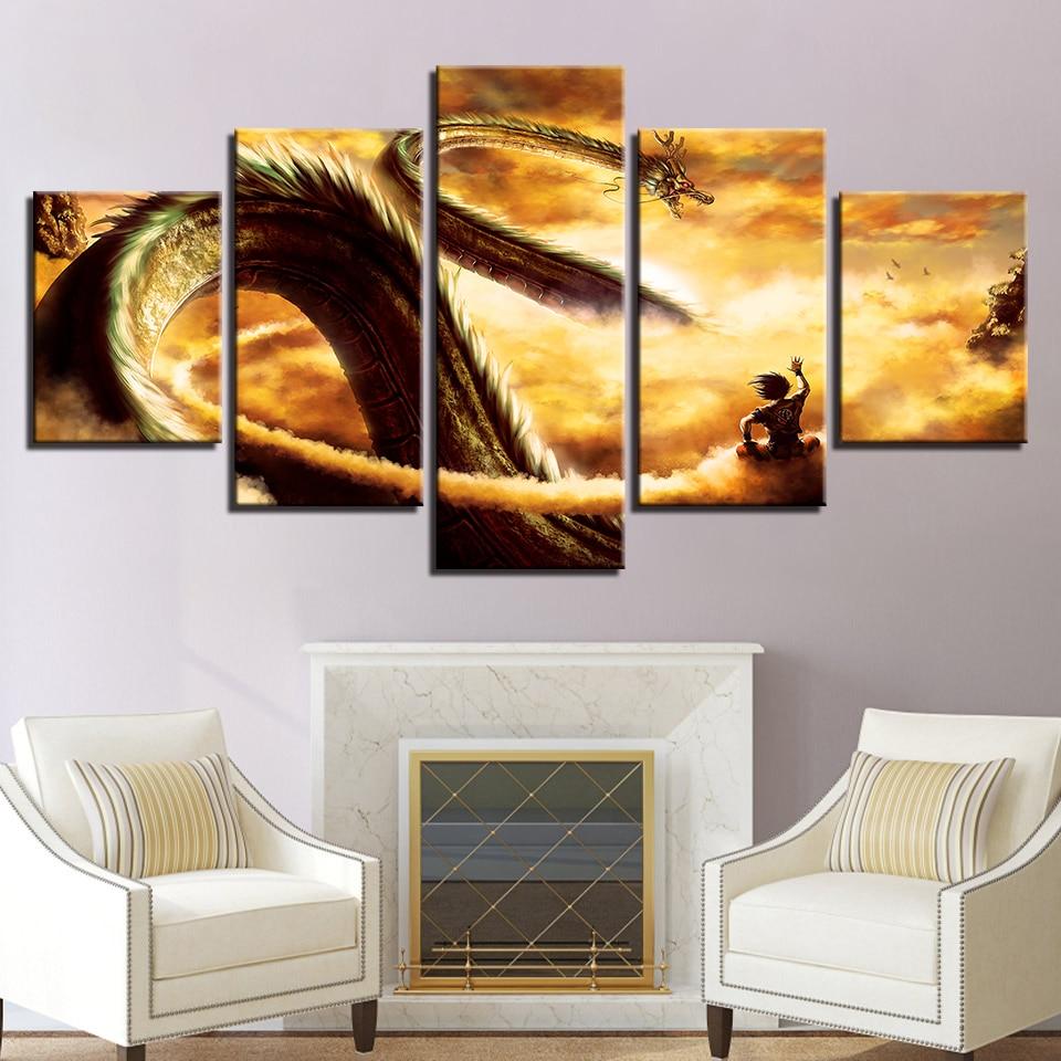 Lona HD imprime cuadros Modern Wall Art marco 5 unidades Cartoon Dragon Ball Z pinturas Goku Ride Shenron hogar decoración