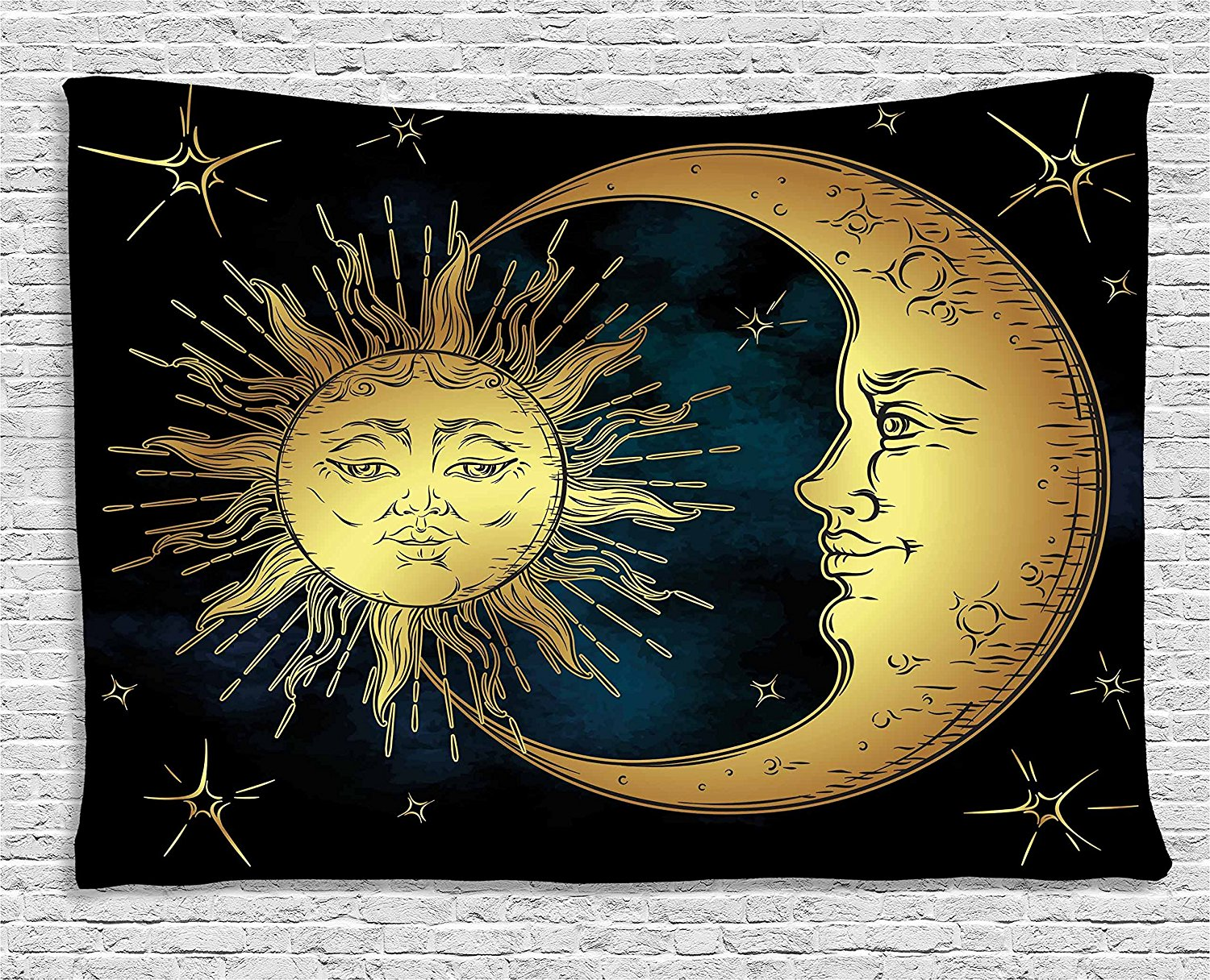 Psychedelic Tapestry, Sacred Moon and Sun in Antique Style Lunar ...